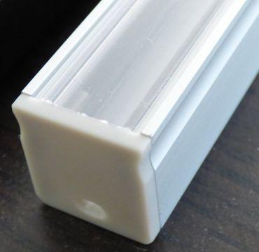 ALU Profil 18 mm x 1 m U-Form silber Abdeckung Transparent -#8108