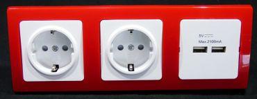 DELPHI 2 x Steckdose +USB Dose 2 x Handy Laden rot Elektro Stecker -#8407