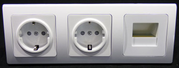 DELPHI 2 x Steckdose 1 x Led Lampe weiß Elektro Dose Stecker Kupplung -#8424