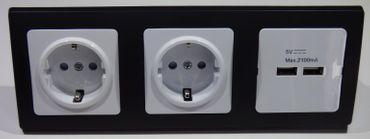 DELPHI 2x Schukodose 1x USB 2-fach sw Elektro Dose Stecker Kupplung -#8536