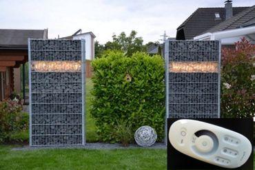 Gabionen Leuchte 0,50m mit Dimmer +FB warmweiss -#8566 – Bild 1