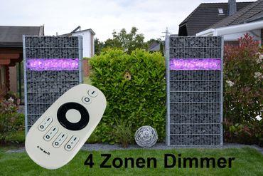Gabionen Leuchte 2 x 0,95 m mit Dimmer und Fernbedienung kaltweiss -#8573 – Bild 1