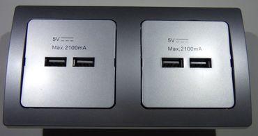 DELPHI silbern 2x USB Dose Elektro Dose Stecker Kupplung -#8577