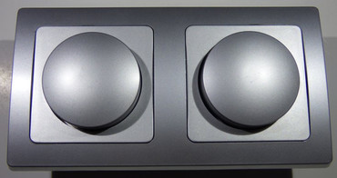 DELPHI silbern 2x Dimmer 20 - 300 Watt Elektro Dose Stecker Kupplung -#8578