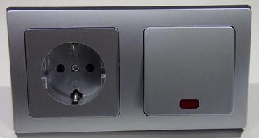 DELPHI silbern 1x Steckdose 1x Kontrollschalter Elektro Dose Stecker Kupplung -#8581