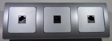 DELPHI silbern 3x CAT5 / RJ45 Dose Elektro Dose Stecker Kupplung -#8593