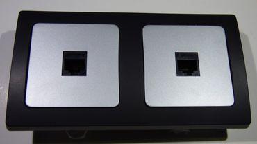 DELPHI 2 x Cat 5 Dose silber schwarz Elektro Dose Stecker Kupplung -#8601