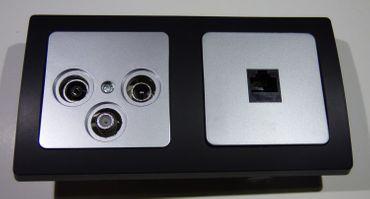 DELPHI 1xAntennendose 1x CAT5 Dose silber/schwarz Elektro Dose Stecker Kupplung -#8604