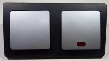 DELPHI 1xWechsel- 1xKontroll Schalter silber/schw Elektro Dose Stecker Kupplung -#8608