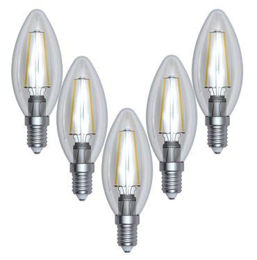 LED Filament Kerze kaltweiss 4 Watt Klar 5 Stück -#8647 – Bild 1