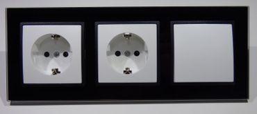 Abelka Nuovo schwarz GLAS 2 x Steckdose 1 x Wechsel Schalter -#8700