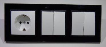 Abelka Nuovo schwarz 1 x Schuko 2 x Serien Schalter -#8704