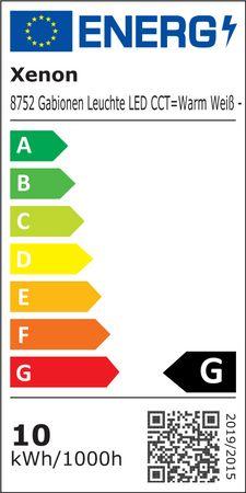 Gabionen Leuchte 0,95 m kalt weiß + warm weiß 2-farbig Fernbedienung -#8752 – Bild 2