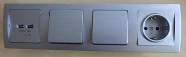 DELPHI silbern 1xUSB Dose + 1xDose + 2x Schalter 4-er Rahmen -#8758
