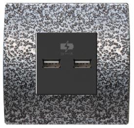 ORGON Alu Hammer USB Dose 2 fach Lader schwarz -#8970