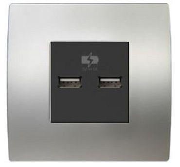 ORGON Alu satiniert USB Ladedose 2 x Laden schwarz -#8972