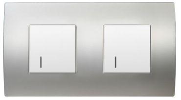 ORGON Alu satiniert 2 x Wechsel Schalter weiß Beleuchtet Blau -#8989