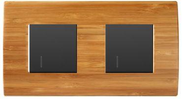 ORGON 2 x Wechselschalter schwarz beleuchtet Blau Bambus Holz -#8998