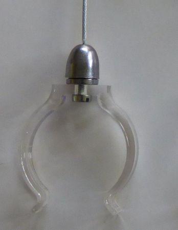 Abhängung Stahlseil 2x1 m Länge für Leuchtstäbe Ø 38 mm mit 2 x klare Klammern -#9609 – Bild 2