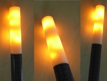 LED Fackel Flamme klein Amber 430 mm Pechfackel Struktur/Holzdekor -#9257