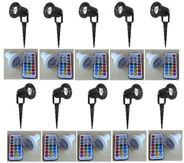 Gartenspot LED RGB+WW Strahler + Fernbedienung +Timer 10-er SET schwarz -#2718 – Bild 1