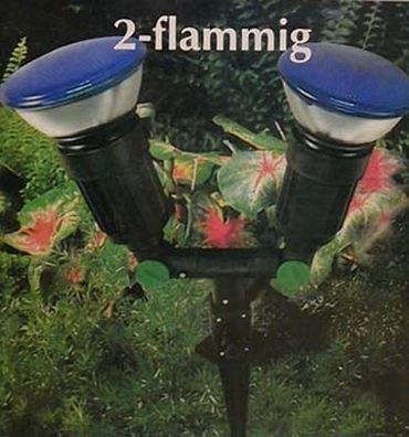 Gartenleuchte mit Erdspieß E-27 2-flammig ohne Leuchtmittel -#3540 – Bild 1