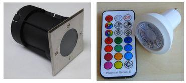 Bodeneinbau LED RGB WW Strahler +Fernbedienung +Timer 1-er SET eckig -#5964 – Bild 1