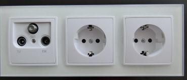Abelka Nuovo weiß GLAS 2 x Schutzkontakt Steckdose 1 x Antennen Dose -#8296