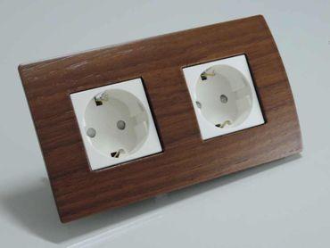 ORGON Holz Rahmen Nuss 2-fach Steckdose weiß -#8846