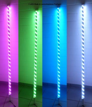 S-LED Leuchtstab 1,65 m RGB+w+ww Fernbedienung +12 Volt Netzteil Ø 38 mm -#9036 – Bild 1