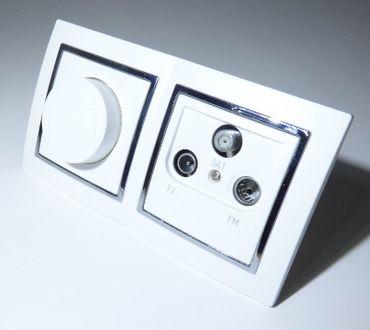 Levina S 2-er 1 x Antennen Dose 1 x LED Dimmer 7-110 Watt silberner Rand -#9520