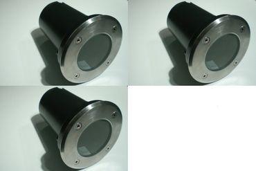 Bodeneinbaustrahler befahrbar rund Ø 110mm Edelstahl ohne Lampe 3er Pack -#705 – Bild 1