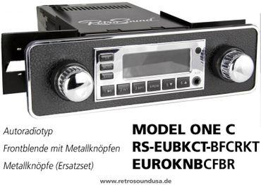 RETROSOUND Frontblende mit sw/cr. Metall-Bedienknöpfe ''Schwarz mit Chromrand'' – Bild 1