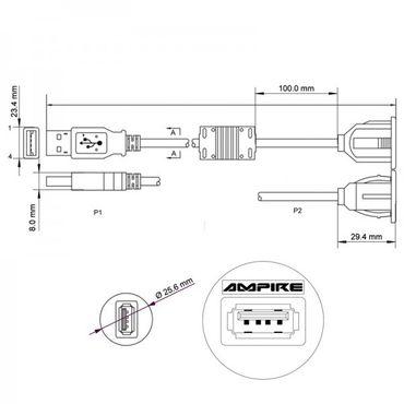 AMPIRE USB-Einbaubuchse mit 500cm Kabel – Bild 4
