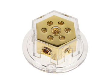 Verteilerblock (gold) 2 x 50 mm²  / 4 x 20 mm²