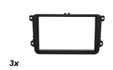Doppel DIN Blende - Oberfläche lackiert, Skoda-Seat-VW RubberTouch f.113mm Blechrahmen