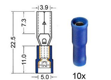 Rundsteckhülse isoliert VINYL Doppelcrimp, 4,0 mm BLAU 10 Stk. im Blister