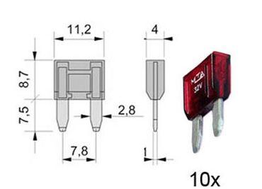 Flachstecksicherungen MINI, 10A ROT 10 Stk. im Blister