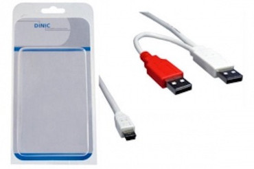 Dinic USB 2.0 Y-power Kabel, 1x USB Mini (5-pin) St.