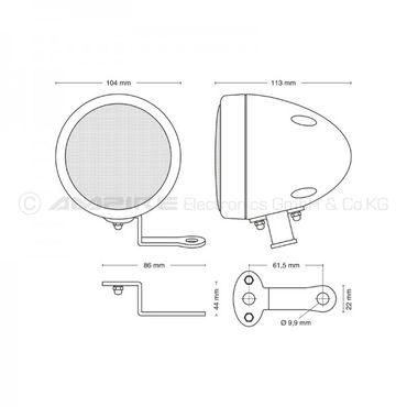 AMPIRE Premium Aufbaulautsprecher, 7cm, verchromt - QX75-CHR – Bild 4