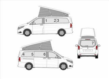 Sichtschutz und Verdunklungset aller hinteren Wohnraum Fenster für Mercedes Marco Polo W447  – Bild 1