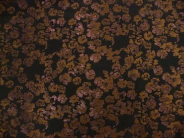Baumwolle, Blumen, Schwarz, Rosig, Braun, Metall – Bild 3