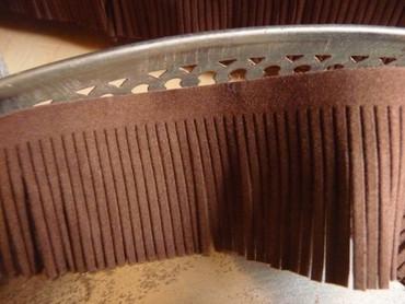 Fransen Band, Braun, Wildleder Optik, 5 cm breit Fransenband, braun
