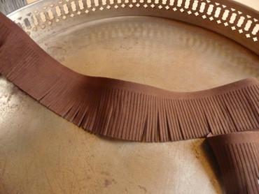 Fransen Band, Braun, Wildleder Optik, 5 cm breit – Bild 2