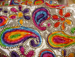 Polyesterstoff, Paisley, Bunt, Silber 001