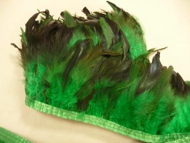 Federborte grün, schwarz, echte Federn – Bild 1