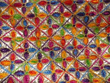 Polyester, Blumenmuster, Chenille Faden