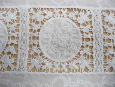 Baumwolle, Bordüre, Weiß, Stickerei, Vierecke – Bild 2