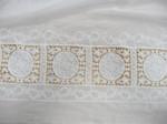 Baumwolle, Bordüre, Weiß, Stickerei, Vierecke 001