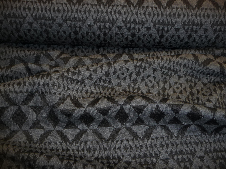 Jerseystoff, grafisches Muster, grau, schwarz